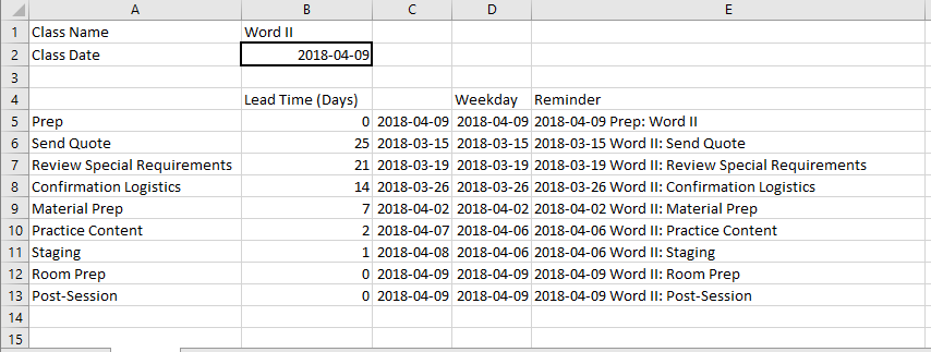 Excel Sheet with date calcs